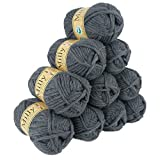 maDDma ® 10 x 50g (=500g) Filzwolle MILLY #17 grau meliert, Wolle zum Strickfilzen