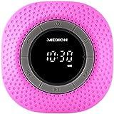 MEDION LIFE E66554 Duschradio mit Bluetooth, PLL UKW, eingebauter Akku, IPX7, 20 Watt, pink