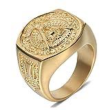 Daesar Schmuck Edelstahl Herren Ringe Freimaurerei Gold Ringe Vintage Gr.67 (21.3)