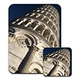 Close Up Of Beautiful Leaning Tower of Pisa Premium Mousematt & Coaster Set
