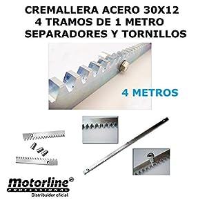 4-metros-cremallera-de-acero-cincado-30-x-12-con-separadores-y-tornillos-para-motor-de-puerta-o-cancela-corredera-estandar-compatible-con-cualquier-marca-de-motor