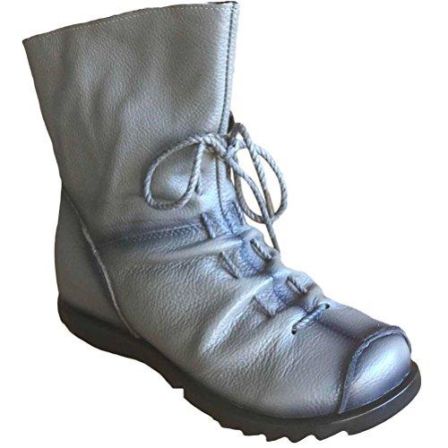 Vogstyle Damen Stiefel Weiches Leder Stiefeletten Warm Gefüttert Art 1 Grau Fleece (Damen Stiefel Sale)