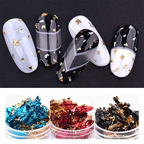 LanLan Autocollants pour Nail Art 6 Couleurs/Ensemble Feuille d'aluminium de Scintillement de Papier d'aluminium de Scintillement de l'art 3D Film d'aluminium de Gel UV de Gel