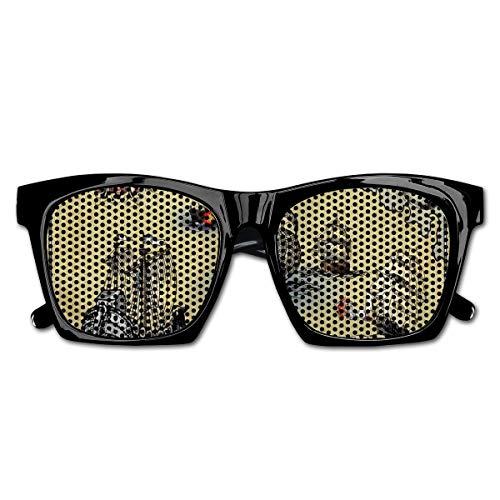 Preisvergleich Produktbild EELKKO Mesh Sunglasses Sports Polarized,  Antique Old Plan Discovery Ship Pirate Wave Compass Navigation Geography Theme, Fun Props Party Favors Gift Unisex