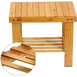 Yoassi Taburete bajo en Bamboo Natural con estantería de almacenaje para niños y Adultos