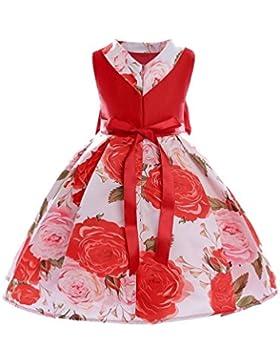 0cd0ebd4ce63 YuanDian Bambine Bambini Fiori Vestiti Stampa Filato Netto Senza Maniche  Bow-knot Compleanno Festa Principessa