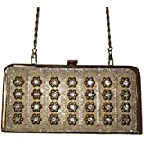 Golden clutcher purse for bridal/women to attend evening party and family function