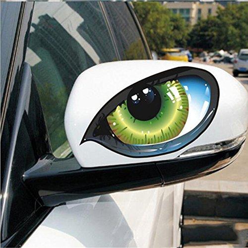 2 unds Pegatina vinilo ojos verdes para retrovisores coches cascos motos ciclomotores...