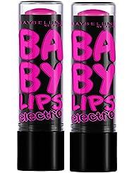 Gemey-Maybelline - BabyLips Electro - Baume à lèvres Rose - 1 pink - Lot de 2