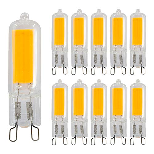 Hengda LED COB Stiftsockel Leuchtmittel, 220-230V Neuestes 3.3w LED 2700k Lampen aus Glas,Kein Flackern 360° Abstrahlwinkel, 350lm Warmweiß [Energieklasse A++], 10er Pack -