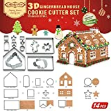 14 PCS - 3D Gingerbread House Cookie Cutter Set (17x13x17 cm)| Bonus Christmas Tree, Snowflake, Snowman, Little Boy| Holiday Cutouts Cutters Kit| Stainless Steel LFGB & FDA Approved, Colorful Gift Box