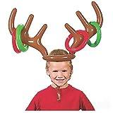 VEYLIN - Juego de Lanzamiento de Anillas, con diseño de Cuernos de Reno y Anillas hinchables, Divertido Juego de puntería para Navidad, para Toda la Familia