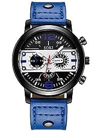 bc9a007fb6f1 POJIETT Relojes Hombre Caballero de Marca en Oferta Relojes Deportivos  Reloj Pulsera de Cuarzo Negro Reloj