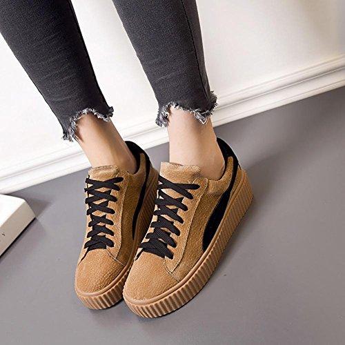 SONGYUNYANCoupe-bas dentelle féminine extérieur cuir casual chaussures Baskets Mode Camel