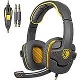 Sades SA-708 Gaming headset con cable 3,5 mm conector de Audio de auriculares de diadema con micrófono para videojuegos(amarillo)