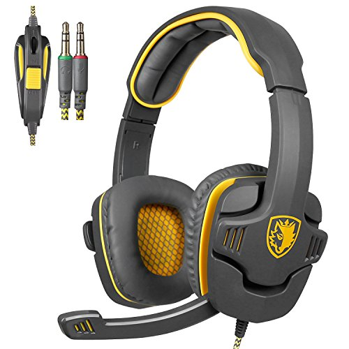 Sades SA708 3,5 millimetri audio surround Stereo PC Gaming Headset fascia con il microfono di controllo Over-the-Ear Volume (giallo)