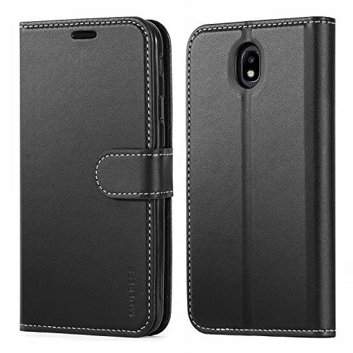 Mulbess Business Style Ledertasche im Ständer Book Case / Kartenfach für Samsung Galaxy J7 Duos 2017 Tasche Hülle Leder Etui,Schwarz