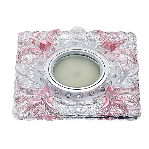 Yool 3W Crystal Deckenleuchte, LED Inline Square Lampe Flur Licht, Dekorative Accessoires, 3000K/4000K/6500K,Pink,4000Kwhite