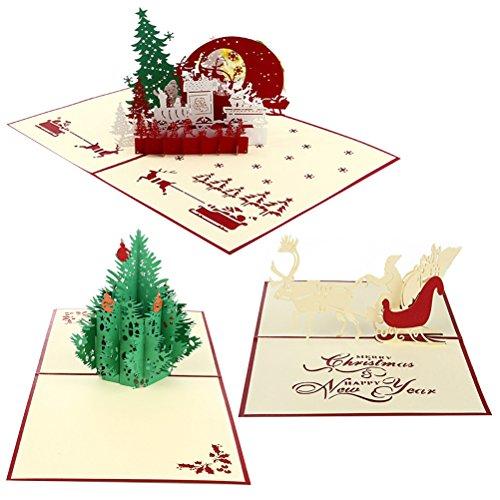 Cartoline 3d natale oulii biglietto di auguri natalizi cartolina pop up a forma di babbo natale renna e albero di natale 3pcs