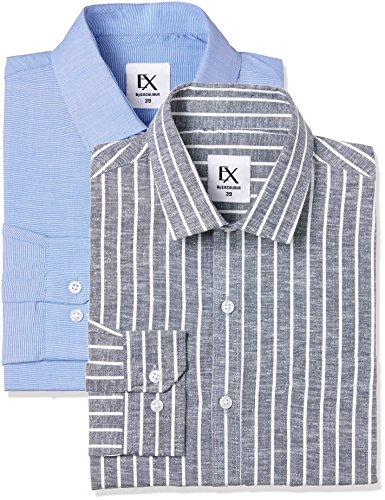 Excalibur by Unlimited Men's Solid Regular Fit Formal Shirt (Pack of 2) (275858049 ASSORTED 42)