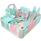 HFYAK Baby-Laufstall Mit Spielmatte, Rutsche + Schaukel + Sitz + Schaukelpferd Mehrzweck-Kinder-VergnüGungspark - Innen- Und AußEnbereich (190x230cm)