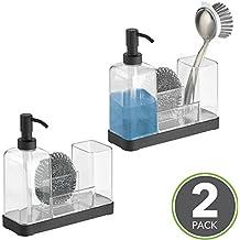 mDesign Dosificador de jabon recargable – Dispensador de jabon con soporte para esponja, estropajo y cepilos - Dispensador de gel, jabón y detergente con capacidad de 354 ml - transparente/negro mate - Paquete de 2