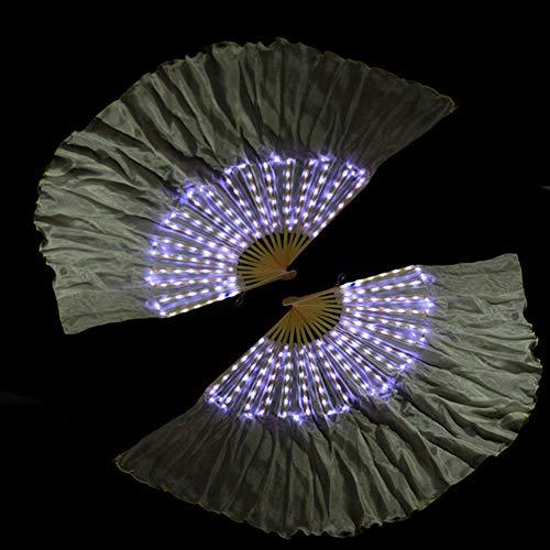 KT Mall Bauchtanz LED Fan Schleier, Bambus Fans Schleier Handgemachte Seide Fan 126 Lampe Perlen Für Tanz Ausrüstung Prop Stage Aktivitäten Tools Karneval Halloween,White (Halloween-aktivitäten Für Karneval)