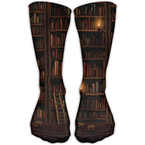 Funny&shirt Library Bookshelf Unisex Novelty Crew Socks Ankle Dress Socks Fits Shoe 19.68 Inches