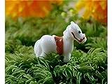 DOOUYTERT Gut Fee Garten Ornamente Miniatur Tier Pferd Bonsai Puppenhaus Dekoration für Gartenhaus (weiß)