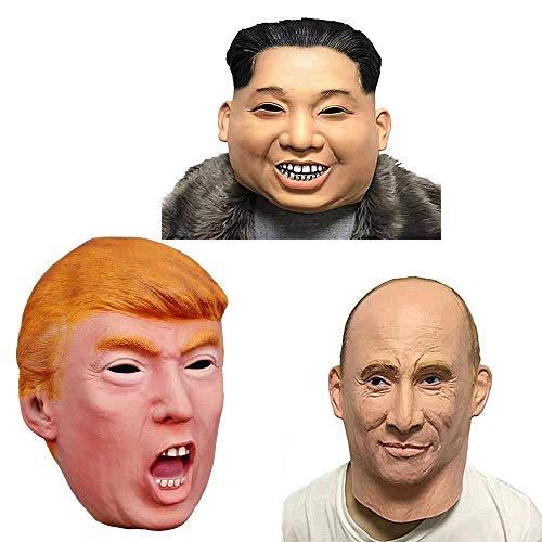 Russische Kostüm Themen - Maskerade Masken Präsidentschaftskandidat Herr Trump Russischer Präsident Wladimir Putin Maske Kim Jong Un Maske 3In 1 Latex Maske