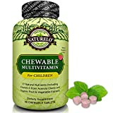 NATURELO Chewable Multivitamin for Children - With Natural Vitamins, Whole Food Minerals, Organic Fruit & Vegetable Extracts - Best Vegan/Vegetarian Supplement for Kids - Raspberry Flavor - 60 Tablets