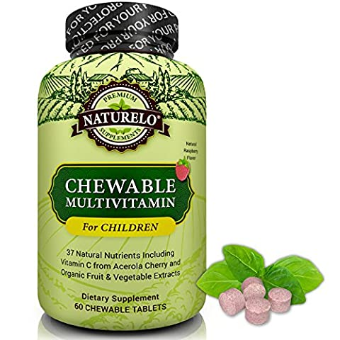 NATURELO Chewable Multivitamin for Children - With Natural Vitamins, Whole Food Minerals, Organic Fruit & Vegetable Extracts - Best Vegan/Vegetarian Supplement for Kids - Raspberry Flavor - 60