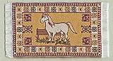 Miniatur Teppich, reine Polyester für Krippe, Puppenhaus, Pferd-Muster. 5x9cm