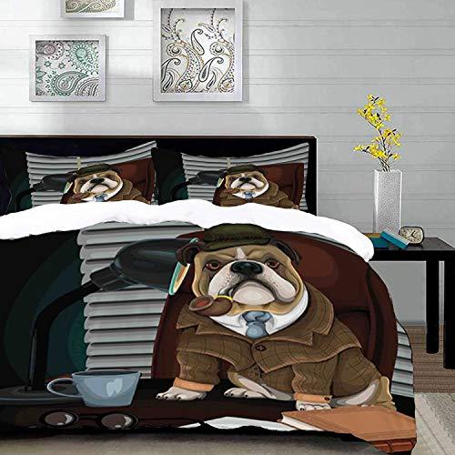 Bettbezug-Set, englische Bulldoggen-Themabild, traditioneller englischer Detektivhund mit Pfeife und Hut Sherlock Holmes-Bild, dekorative 3-teilige Bettwäsche in zwei Größen mit 2 Kissen-Shams, Multic (Und Pfeife Holmes Sherlock Hut)