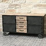 Bahut aparador mueble con ruedas Industrial campaña hierro y madera