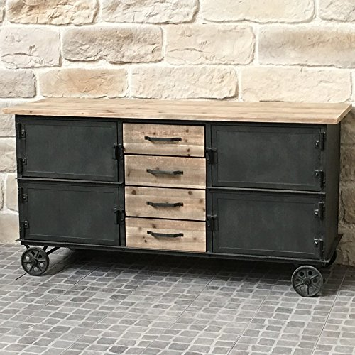 Credenza Madia Buffet Mobile a rotelle industriale Campagna Ferro e legno