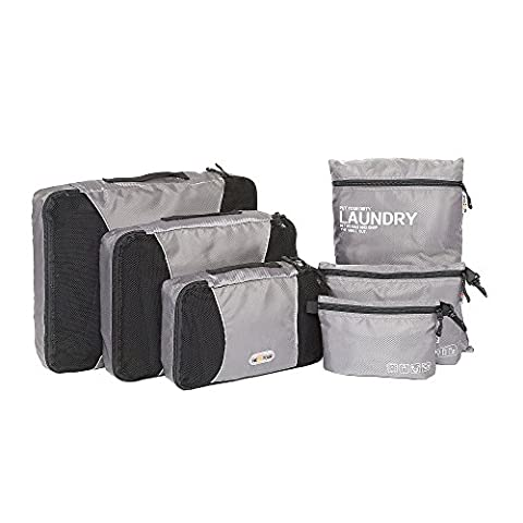 NEXTOUR Packing Cubes 3 pcs PLUS Laundry Bag Toiletry Bag and Electronics Accessories Pouch 6 set Travel Organizers for Luggage