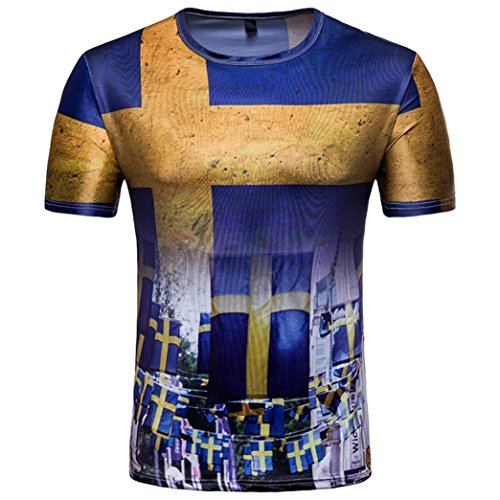 Preisvergleich Produktbild Ba Zha Hei weltmeisterschaft 2018 trikot Herren Russland Weltmeisterschaft Männer Sommer Fußball American Flag Print Brief Kurzarm Slim Fit in T-shirt Top Bluse Print und Herren T-Shirt Fußball Print Kurzarm T-Shirt Sommer Top Bluse für WM Mode Sommer Casual Schlank Kurzarm Oberteile (Gelb, M)