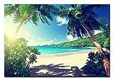 Berger Designs Bild auf Leinwand als Kunstdruck in Verschiedenen Größen. Traumhafter Strand auf Den Seychellen. Beste Qualität aus Deutschland (90 x 70 cm (BxH))