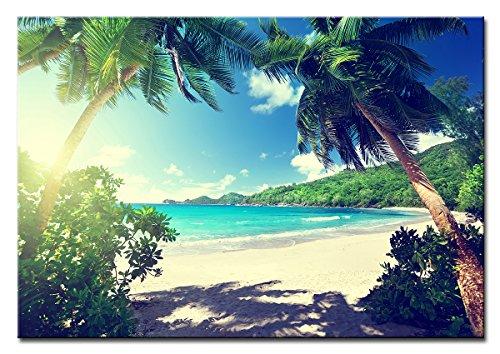 Berger Designs - Bild auf Leinwand als Kunstdruck in verschiedenen Größen. Traumhafter Strand auf den Seychellen. Beste Qualität aus Deutschland (120 x 80 cm (BxH))