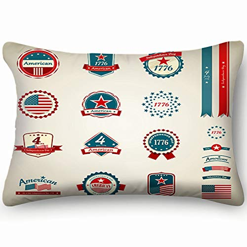 tuyi Vintage Label Ribbons Award Collections Independence Holidays American Holidays Signs Symbols American Signs Symbols Throw Pillow Case Cushion Cover Double Side Design 20