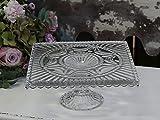 Chic Antique Tortenplatte auf Fuß mit Tropfenkante Glas Kuchenplatte 25 x 25 cm