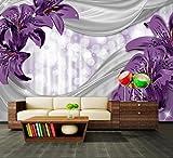Fototapete Lilie Lila abstrakt Vliestapete Wandtapete - Tapete - Moderne Wanddeko - Wandbilder - Fotogeschenke - Wand Dekoration, wandmotiv24, Größe: XXL 400 x 280 cm - 8 Teile - Vlies