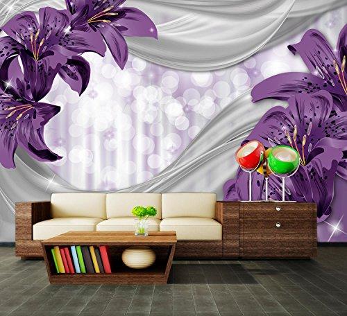 dalinda Premium Vliestapete Lilie lila abstrakt Fototapete DA00000526 XXL 400 x 280 cm - 8 Teile - Vlies Vliestapete XXL