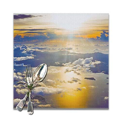 Houity Sunset from a Plane Tapete, waschbar, weich, für Küche, Esstisch, Matratzen, leicht zu reinigen, bequem, faltbar, 30,5 x 30,5 cm, 6er-Set