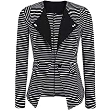 276e31bab2f9 Geili Damen Blazer Tailliert Kurz Elegante Langarm Slim Fit Gestreift Business  Büro Jäckchen Anzug Casual Kurzblazer