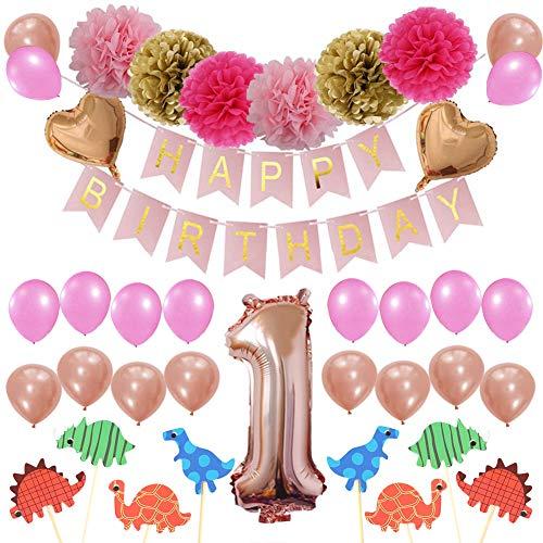 LIEBLIED Baby-Dusche Dekorationen, erste Geburtstag Party Dekorationen für Mädchen Happy Birthday Banner, Dinosaurier Cupcake Toppers, Herzförmige Folienballons, Papier Pompons und Latexballons