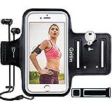 Sportsocken Handy, Gritin Schweißfeste Handytasche fürs Oberarm, mit Schlüsselhalter, Kopfhörerloch und Verlängerungsband - für iPhone X/8/7/6/6s und Handy bis zu 6.5'