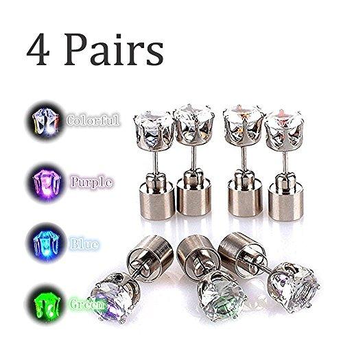 LED Ohrringe, 4 Paar Taschen, Party Bar Halloween Mehrfarbige Lichter, Super Helle Edelstahl Diamant Krone Ohrringe