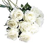 Mitlfuny Unechte Blumen,Künstliche Deko Blumen Gefälschte Blumen Seidenrosen Plastik Köpfe Braut Hochzeitsblumenstrauß für Haus Garten Pfingstrose Floral künstliche Seide5 Stk Künstliche Fake Roses Flanell Blume Brautstrauß Hochzeitsfeier Home Decor (C)